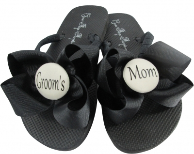 Ivory Button & Black Groom's Mom Flip Flops, Choose your Colors MOBG44