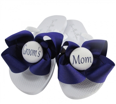 Purple/White Groom's Mom Flip Flops, Choose your Colors MOBG49