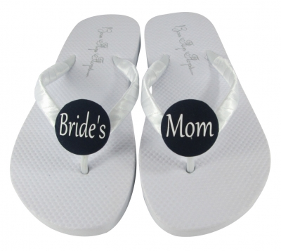 White with Black Mother of the Bride Flip Flops