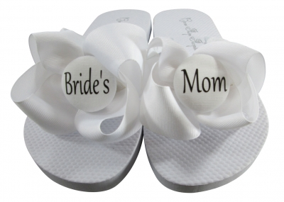 Design your own White Bride's Mom Flip Flops, Choose your Colors
