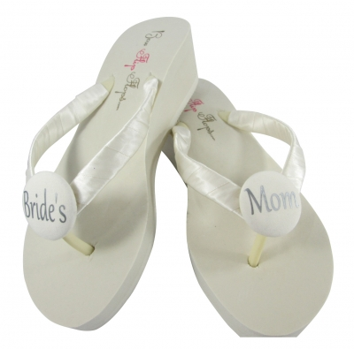 Ivory Bride's Mom Flip Flops with silver /many colors MOBG7