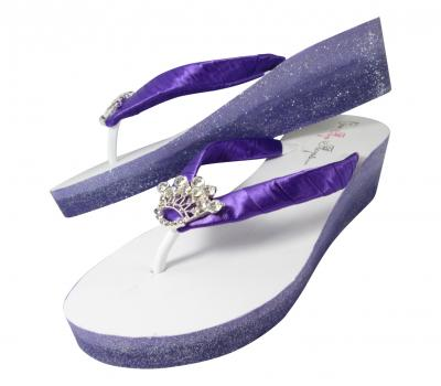 Princess Crown Glitter Ombre Flip Flops in Purple and Orchid or choose your wedding colors
