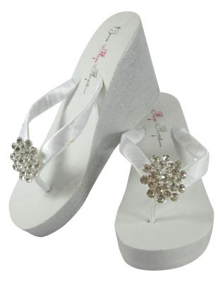 Large Jewel Silver Painted and Glitter Wedged Heel Flip Flops