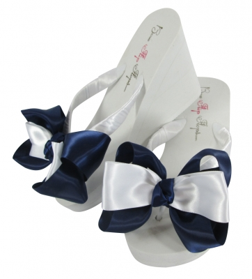 Navy Wedding Bow Flip Flops for the Bride