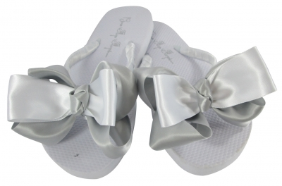 4da45e866f31f1 Silver Satin   White Wedding Flip Flops for the Bride   Bridesmaids