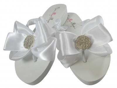 Bridal Flip Flops with Round Jewel Bows - White Ivory Wedge/Flat
