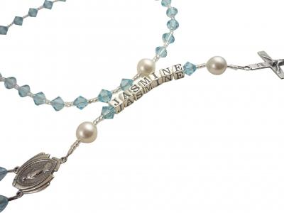 Aquamarine Crystal rosary with Mary Medal or choose any colors Rsy34