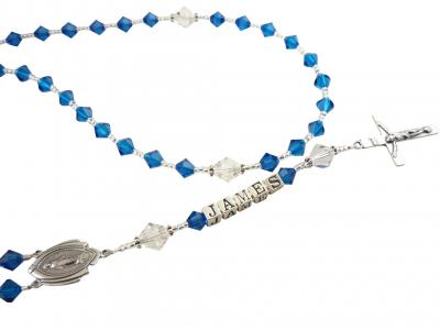 Capri Blue Crystal Rosary with Mary Medal or choose any colors