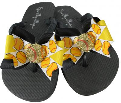 Softball Rhinestone Bow Flip Flops - choose colors