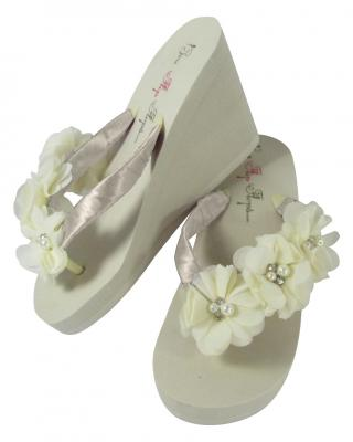 Ivory High Wedge Sweetheart Flower Flip Flops