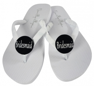 Bridesmaid Flip Flops with White and Black