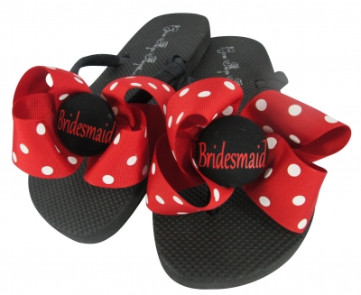 Bridesmaid Red and White Polka Dot Bow Flip Flops