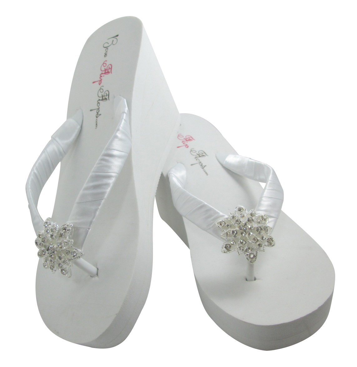 fbfd2a457 White Wedge Wedding Flip Flops with Vintage Flower Bling