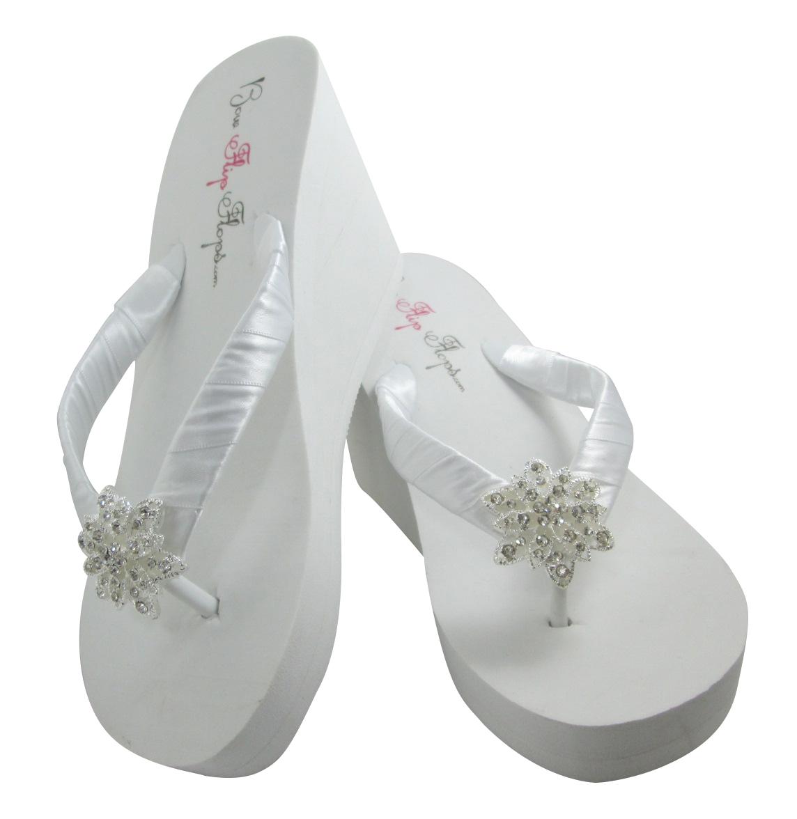 Orchid vintage flower flip flops for the wedding white wedge wedding flip flops with vintage flower bling mightylinksfo