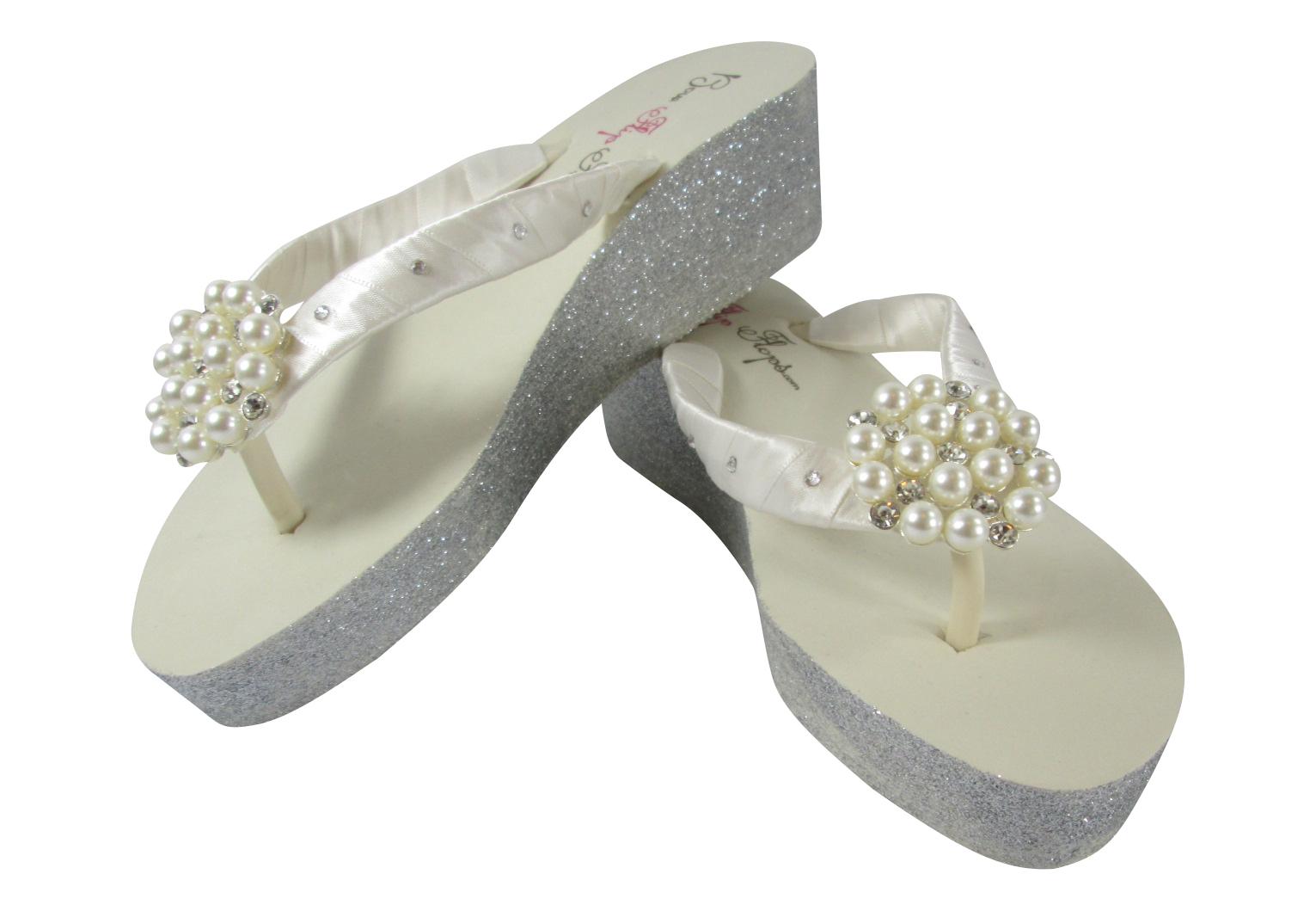 ec24ae0ff 2 inch ivory wedge bridal flip flops with silver glitter swarovski  rhinestones and pearl