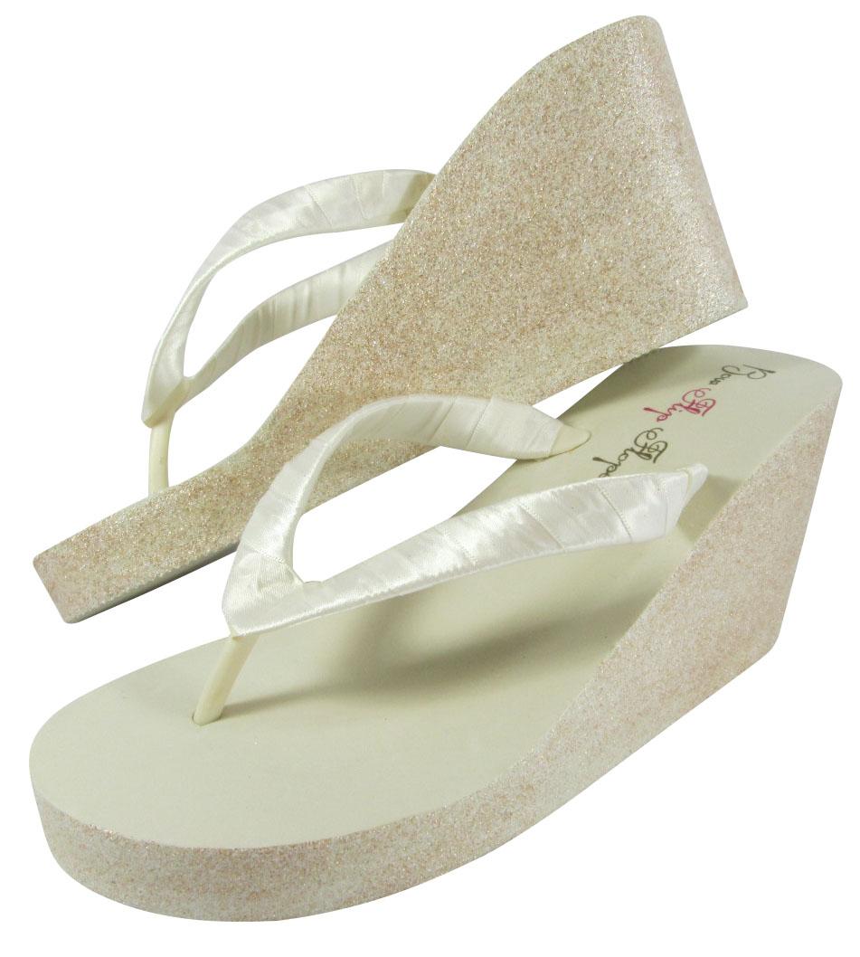 Glitter Bridal Flip Flops for the Wedding from bowflipflops.com