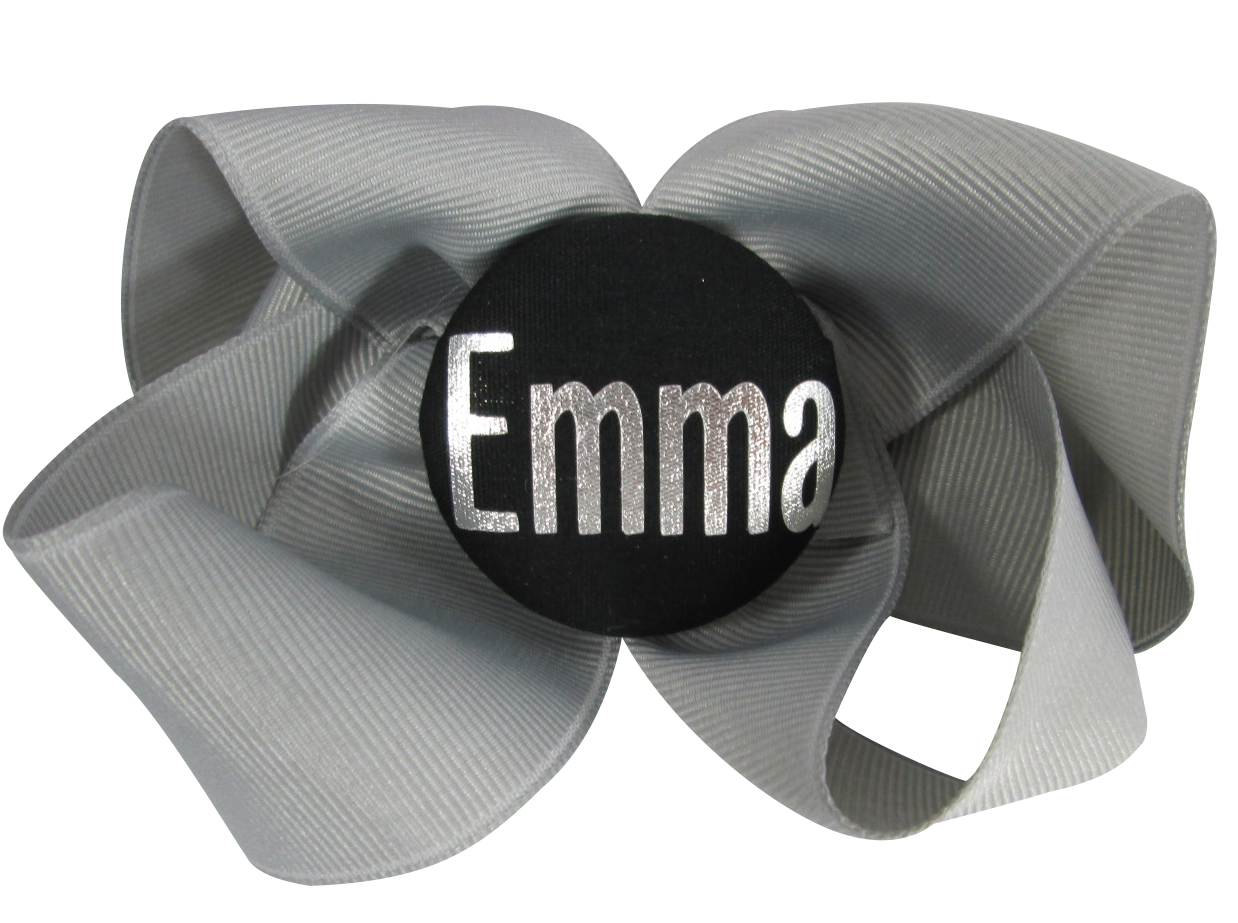 b4032bbe22e77 Gray Silver hair bow with silver personalized name