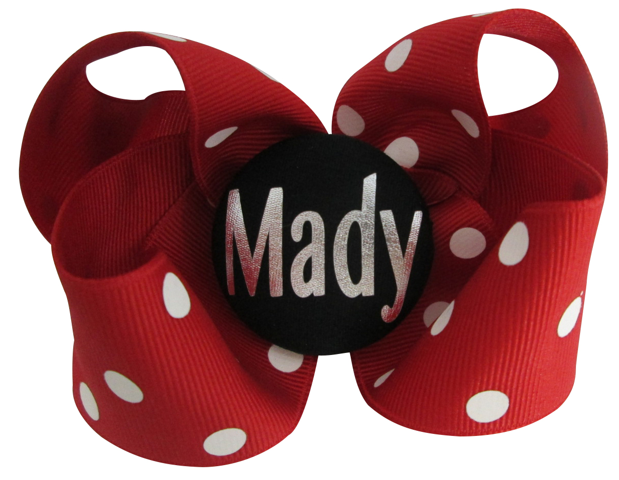 ead3f6518fe42 Purple Name Hair Bow - many color options