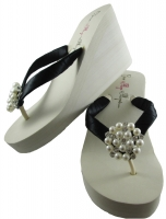 Bridal Flip Flops with Pearl Embellishment