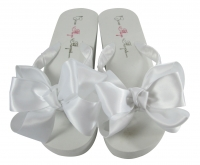 White Wedge Wedding Flip Flops for the Bride & Bridesmaids