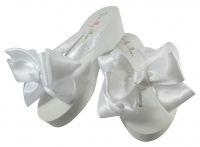 Wedged Flip Flops with White Satin Bows