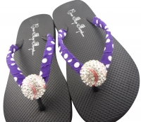 Baseball Rhinestone Flip Flops purple polka or choose colors BB13