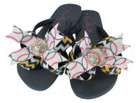 Black & Gold Chevron Baseball Flip Flops/ Many Colors Available