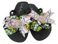 Chevron Green Gold baseball bling bow flip flops , choose colors