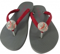 Gray with Cranberry Ribbon Rhinestone Baseball Flip Flops