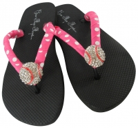 Baseball Flip Flops for Ladies with Hot Pink Polka Dot