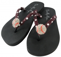 Maroon Baseball Bling Flip Flops -color options