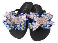 Chevron Royal blue and yellow gold baseball bling bow flip flops
