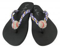 Gold, Purple and White Chevron Baseball Flip Flops