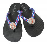 Red, White & Royal Chevron Baseball Flip Flops