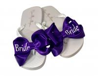 Purple Bride Glitter Satin Bow Flip Flops