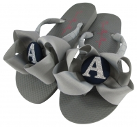 Navy & Gray Glitter Bow Bridesmaid Flip Flops BMBWB14
