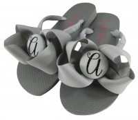 Gray & Black Glitter Script Bow Bridesmaid Flip Flops BMBWB18