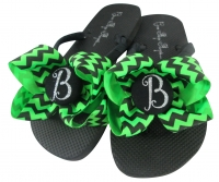 Bridesmaid Flip Flops with Green Chevron Glitter Bows, many colors BMBWB19