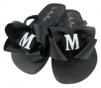 Black with White Glitter Bow Initial Bridesmaid Flip Flops