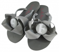 Gray Bow, White Glitter Bridesmaid Flip Flops- choose colors