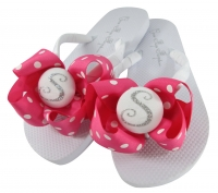 Hot Pink Polka & Silver Glitter Bow Bridesmaid Flip Flops