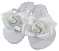 Silver Glitter on White Bow Bridesmaid Flip Flops- choose colors BMBWB47