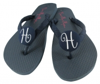 Navy Glitter Script Initial Bridesmaid Flip Flops - choose colors BMIT30