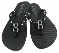 Black Polka Silver Bling Bridesmaid Flip Flops - many colors BMIT33
