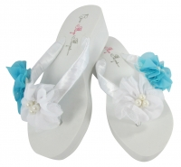 Turquoise & White - choose colors - Wedge or Flat Chiffon Pearl Flower Flip Flops