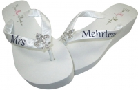 Bridal Flip Flops with Mrs Personalization & Fleur de Lis Rhinestone Embellishment- Choose the colors & heel height!
