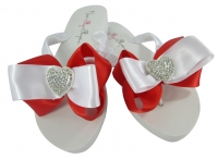 Red Satin Heart Bow Bridal Flip Flops
