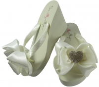 Ivory Wedge Heel Flip Flops with Heart Satin Bows