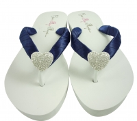 Navy Heart Flip Flops - choose your own colors