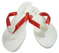 Bridal Flip Flops with Heart Bling- Red satin/choose colors! H5
